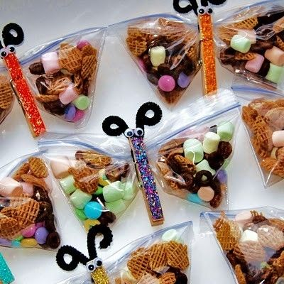 Butterfly Snack bags. Cute and simple. Better than little gifts they won't use or could possibly choke on. This is fun for all ages!