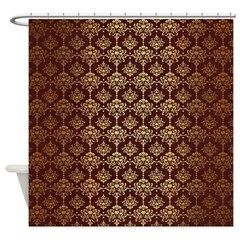Red Gold Damask Shower Curtain