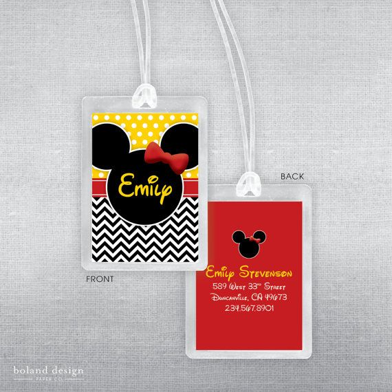 Disney luggage tag. Disney bag tag. by BolandDesignPaperCo on Etsy, $6.00