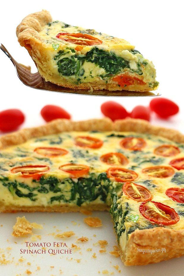 SugaryWinzy Tomato Feta Spinach Quiche