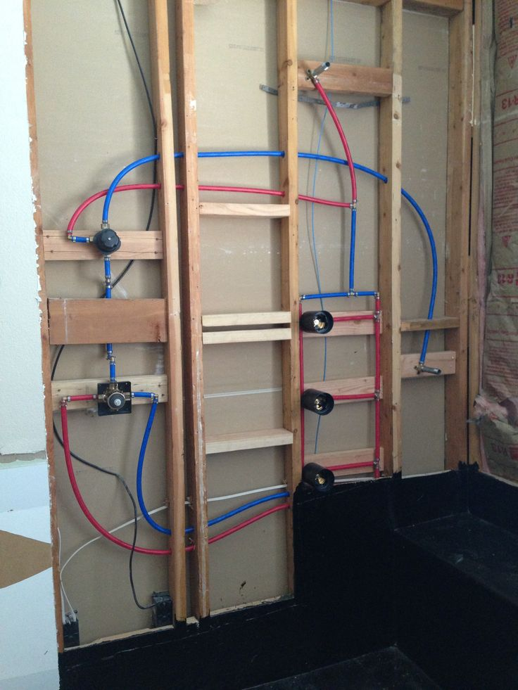 finished shower plumbing with pex tubing a shower head