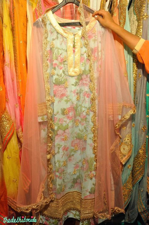Floral Print Pink Anarkali - Madhu S - Best of Wedding Asia Delhi 2015
