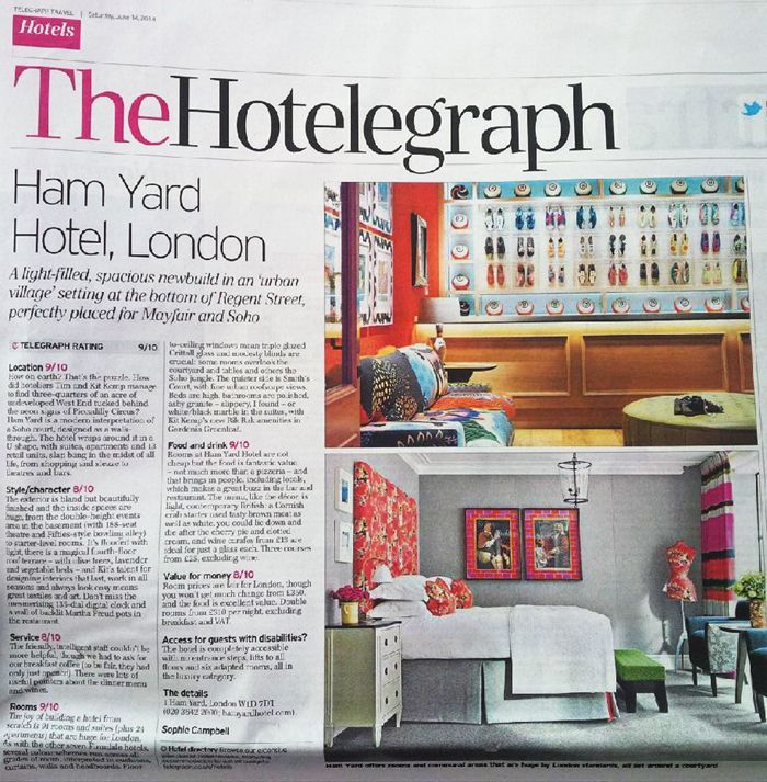 As seen in the London Telegraph, EDIT's Garlands fabric in one of the suites at the new Ham Yard hotel, London