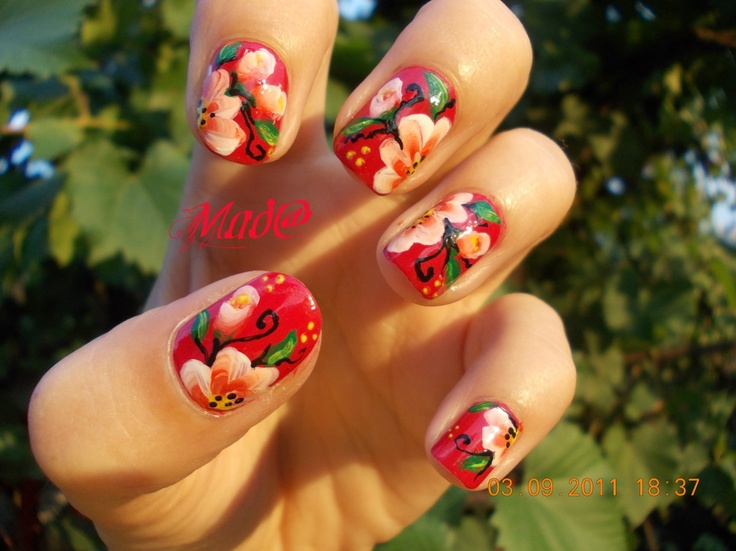 Nail Art: One stroke flowers on red nails ~ Life, passion and beauty