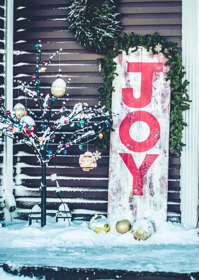 Rustic wooden handmade painted 6' Christmas Joy sign. Visit our Facebook page at www.facebook.com/PepperCreekCraftsmanCo
