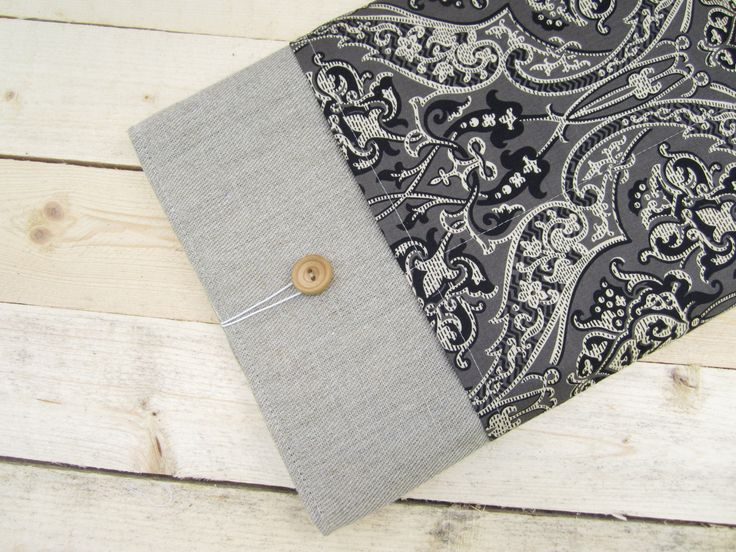 Linen damask MacBook Air/Pro 13 sleeve with pockets, MacBook Pro 13 sleeve, Mac Pro 13 case, MacBook Pro 13 Retina sleeve, MacBook Air 11 by CasesLab on Etsy