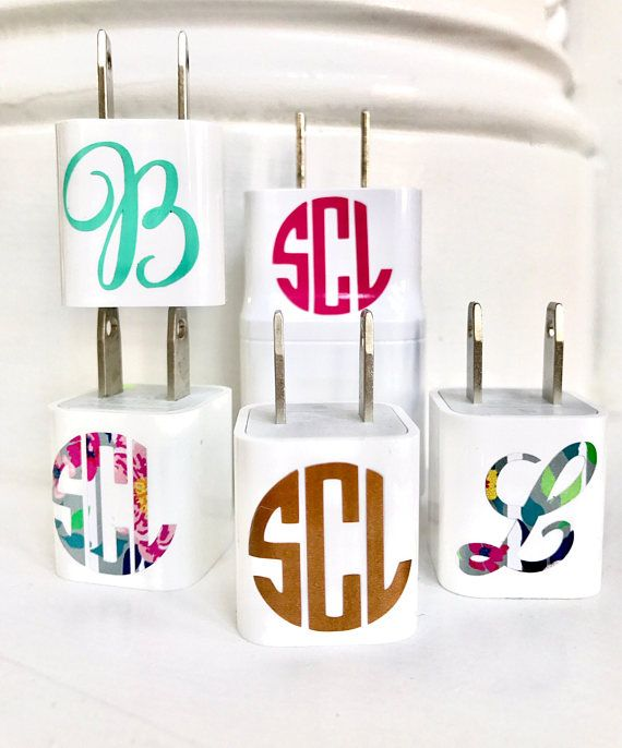 Tiny Monograms Cell Phone Charger Monogram Personalized