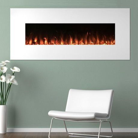 Northwest White Electronic Fireplace + Wall Mount + Floor Stand