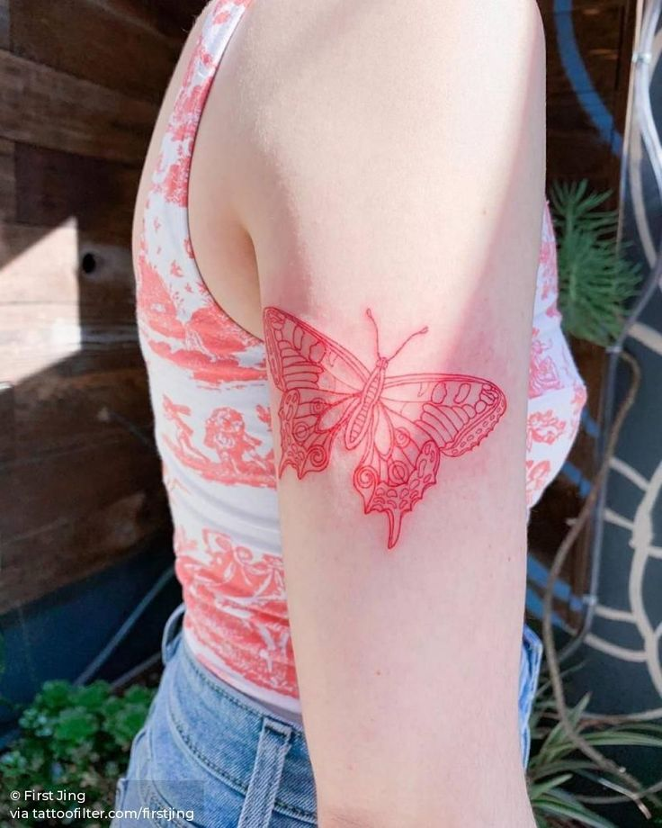 Butterfly in red thin lines used 3 tight needle i did