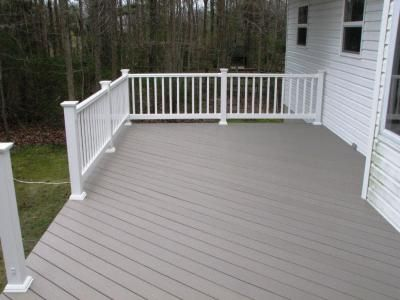 Attractive AZEK Building Products Slate Grey Vinyl Flooring And Longevity White PVC  Railing.