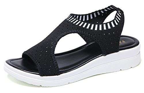 Ezkrwxn Walking Sandals for Women 2019 Summer Flyknit mesh Breathable Comfort Ladies Fashion Sneakers Black Casual Shoes Size 7.5 (808-black-38) –