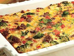 Broccoli and Sausage Breakfast BakeRed Bellpepper, Breakfast Casseroles, Fun Recipe, Peppers Jack Cheese, Breakfast Bakehillshirefarmcom, Jack O'Connel, Breakfast Baking, Breakfast Recipe, Sausage Breakfast