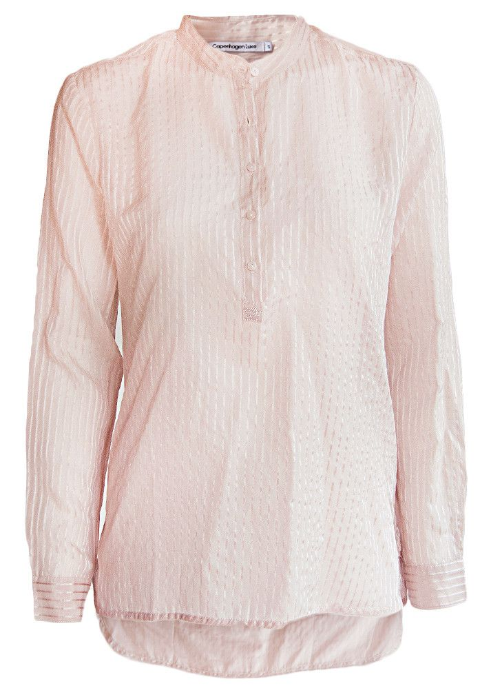 Copenhagen Luxe Skjorte rosa 7321 Silk Shirt dusty rose J stripes – Acorns