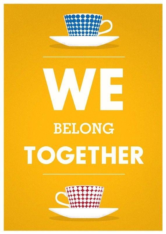 Valentine print tea poster Quote art Stig LIndberg by handz