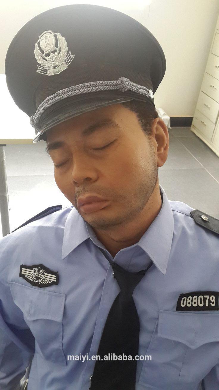 General people sleepy security man silicone wax figures
