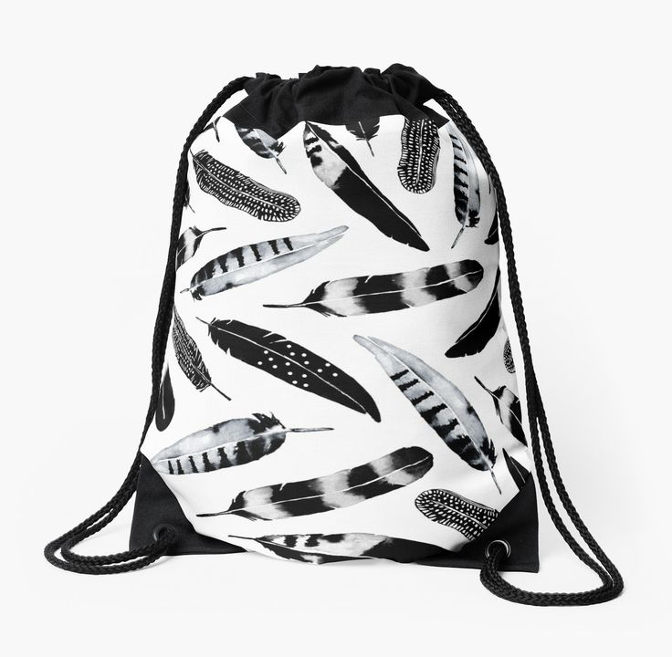 Watercolor Feathers digitally made into a pattern. Black and White bohemian pattern. • Also buy this artwork on bags, apparel, stickers, and more. Watercolor feather design black and white by Amaya #art #feather #watercolor #pattern #birds #watercolorfeathers #redbubble @redbubble #bag