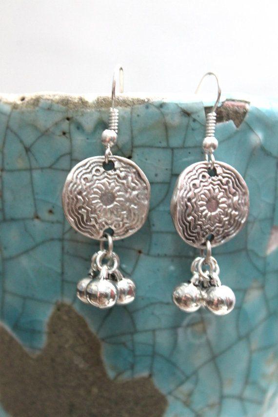 Antalya Turkish inspired Ethnic Boho bride silver flower and tiny balls dangle earrings Free people