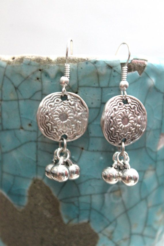 Antalya Turkish inspired Ethnic Boho bride silver flower and tiny balls dangle earrings Free people