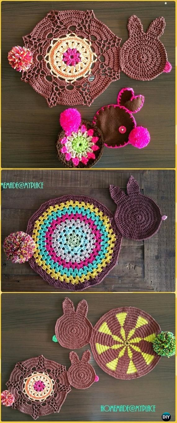 Crochet Choco Bunny Placemats Free Pattern