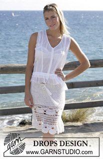 """Virkad DROPS kjol med Mussel-mönster i """"Alpaca"""" och """"Cotton Viscose"""". ~ DROPS Design"""