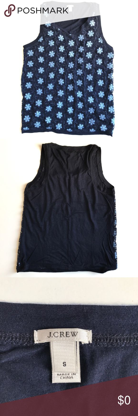 """J. Crew crochet lace tank. Navy blue J. Crew crochet lace tank. Size small. Measures 17"""" pit-to-pit and 23.5"""" long. Gently used condition. Sorry, no trades & I am unable to model. J. Crew Tops Tank Tops"""
