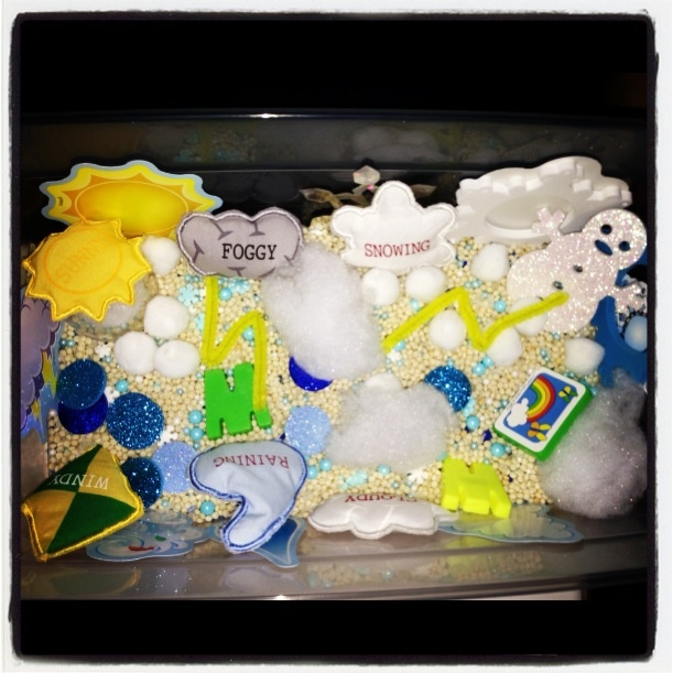 #Weather #sensory #box #bin. Weather Sensory Bin by Melissa and Rebecca Mangus. Love it.