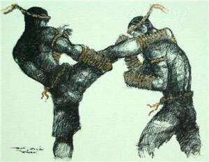 Muay Thai Boxing Vintage Artwork R Kick Greetings card  #martialarts