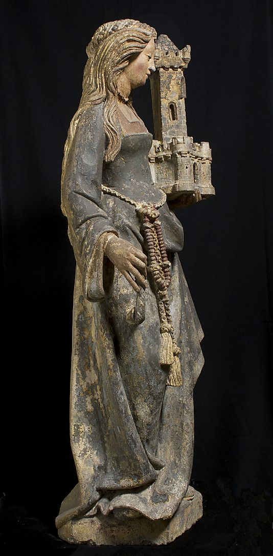 Saint Barbara Date: ca. 1500 Culture: North French Medium: Limestone, paint, gilt Dimensions: Overall: 46 1/4 x 15 1/2 x 11 1/2 in. (117.5 x 39.4 x 29.2 cm)