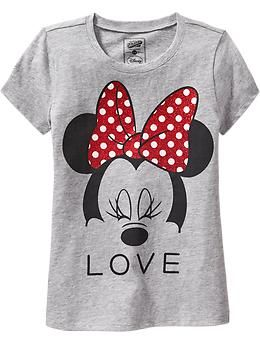 """Girls Disney© Minnie Mouse """"Love"""" Tees 