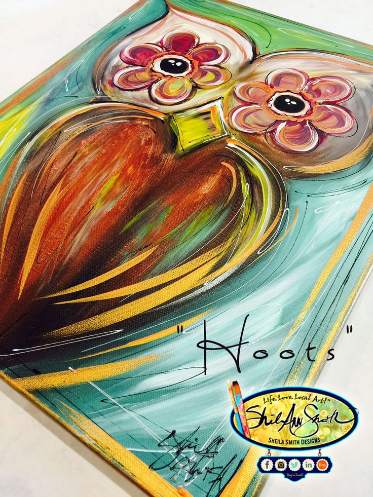Hoots, Acrylic Painting on Stretched Canvas, hand-painted, Owl Art & Fall Decor by SheilaSmithDesigns on Etsy