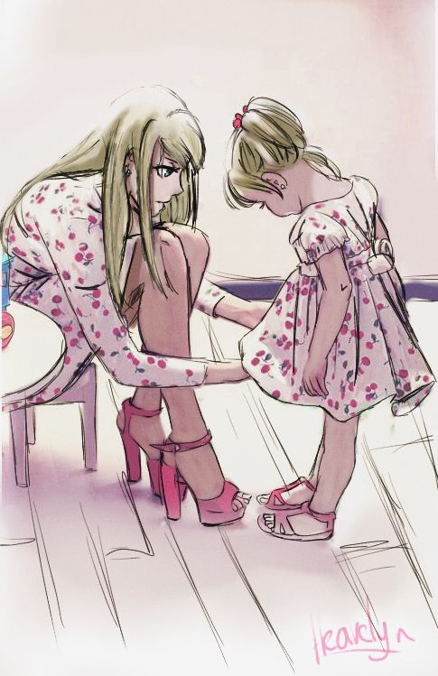 Winry and her daughter asdfghjkl by heavylyn on tumblr