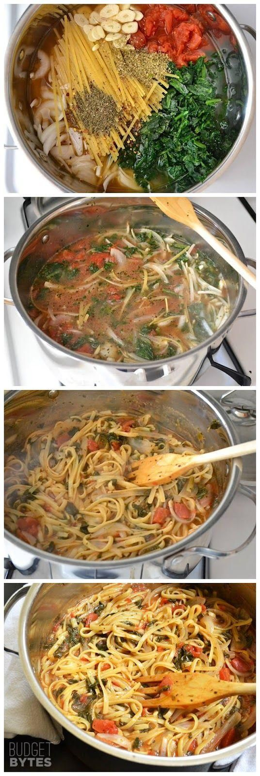 Italian Wonderpot  4 cups vegetable broth,  2 Tbsp olive oil, 12 oz. fettuccine, 8 oz. frozen chopped spinach, 1 (28 oz.) can diced tomatoes, 1 medium onion, 4 cloves garlic, ½ Tbsp dried basil, ½ Tbsp dried oregano, ¼ tsp red pepper flakes, freshly cracked pepper to taste, 2 oz. feta cheese. Make with brown rice pasta and no cheese!