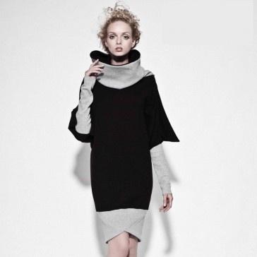 czarna bluza ze ściągaczem, wykończona szarymi rękawami i szarym kominem. Bawełna z niewielką ilością elastanu