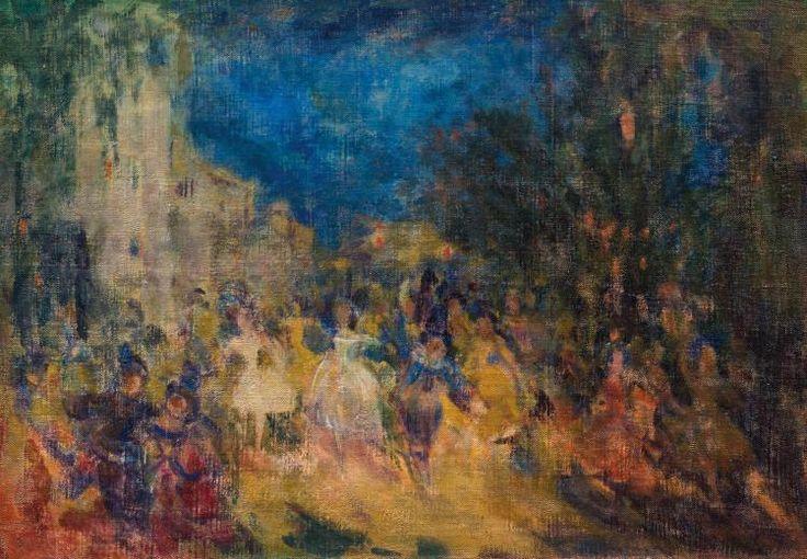 SAPOUNOV NICOLAS NICOLAIÉVITCH (1880-1920) Carnaval Huile sur toile, réentoilée Signée et datée en cyrillique à droite 49,5 cm x 72 cm. Le tableau est une oeuvre de maturité de l'artiste et s'inscrit dans le cycle des soirs festifs.