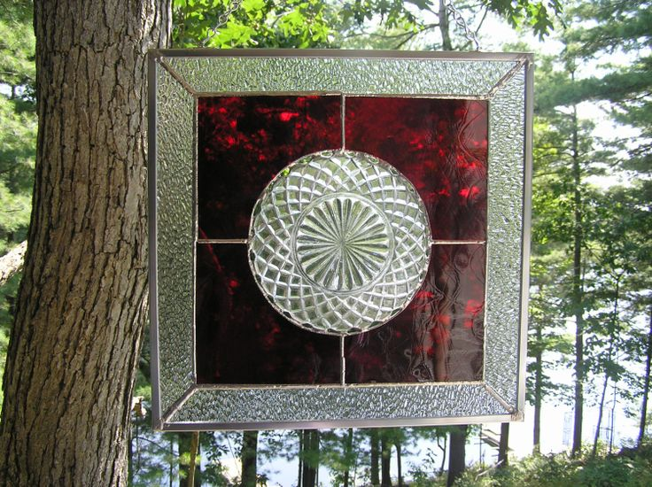 Stained Glass Panel Vintage Glass Plate  by CalmWatersStudio, $90.00