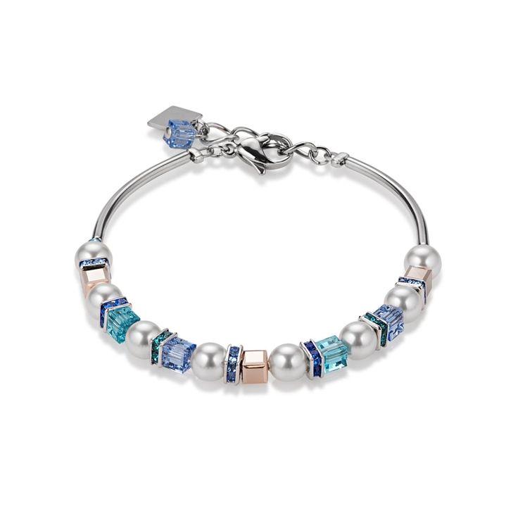 Coeur De Lion Blue Swarovski Crystal and Pearl Bracelet