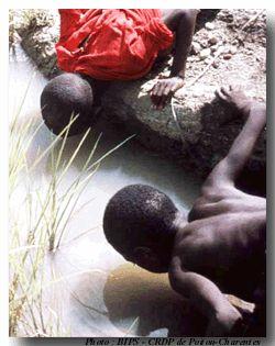 """""""L'OMS définit ce qu'elle appelle « l'accès à l'eau potable » par la possibilité d'obtenir 20 litres par habitant et par jour à partir d'un point d'eau potable situé à 30 minutes de marche aller-retour. 800 millions d'individus n'ont pas accès à l'eau potable. Mais au-delà de ce chiffre officiel, un conseiller pour l'eau du secrétaire général de l'ONU avance même le chiffre de 3,5 milliards d'hommes qui n'ont pas un accès satisfaisant à l'eau potable, un humain sur deux !"""""""