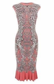 Alexander McQueen Coral/Black Barnacle Jacquard Ruffle Pencil Dress