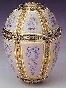 12 Panel Faberge Egg. Current owner is Queen Elizabeth II. Originally made in 1899 for Barbara Kelch-Bazanova