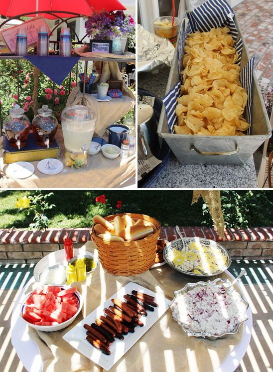Nautical Theme Baby Shower: Food & beverage Want to serve the sea salt potato chips this same way.