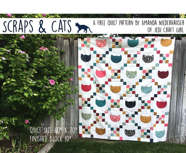 Fun cat throw quilt using appliqué and chain blocks.  Fabrics woof woof meow by moda.