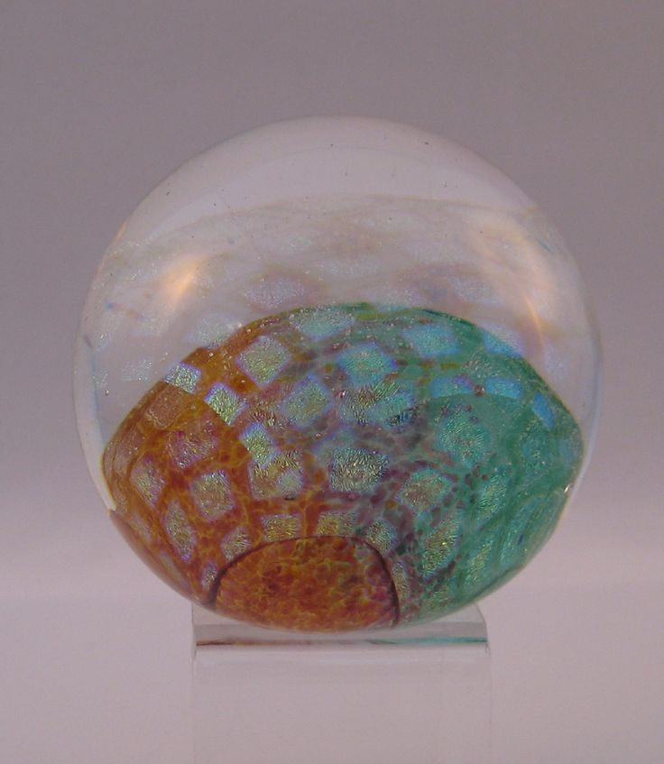 Dichroic Square Round Paperweight
