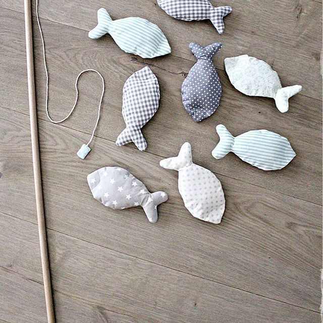 This was a gift for a two-year old on his birthday. You can catch the fish with the magnets on them #kids #diy #toy #toddler #sewing