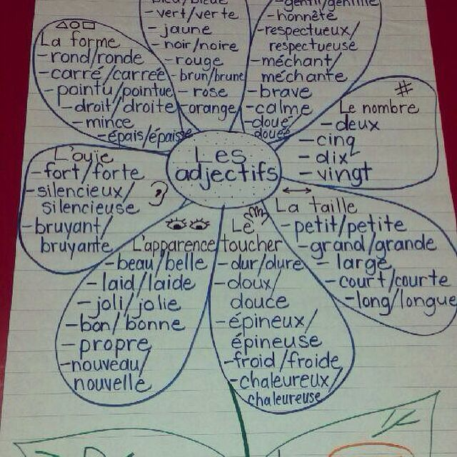 French anchor chart. Adjectifs = bleus et noms = oranges. Merci, Brooke!
