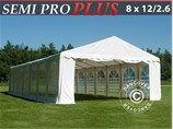 Partytent Semi PRO Plus 8x12 m PVC 2,6 m high, a beautiful tent for your event. www.dancovershop.com