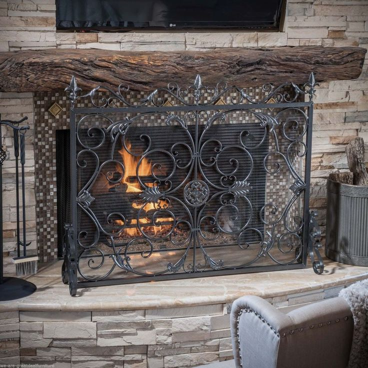 Indoor Darcie Black Brushed Silver Finish Wrought Iron Fireplace Screen NEW #GDFStudio #Victorian