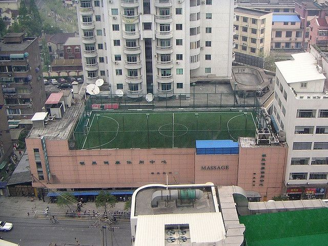 Urban rooftop soccer field, Shanghai China