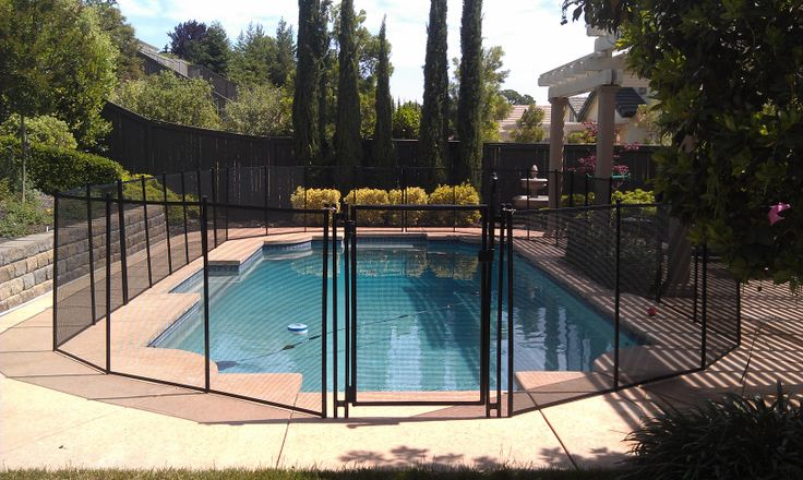 Black pool fence with self closing gate.