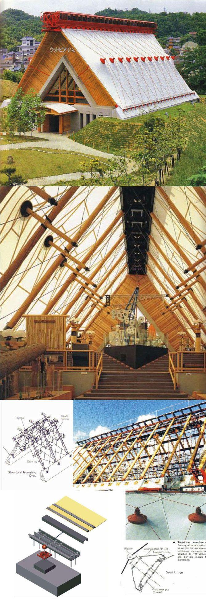 Woodpia Iwaki Museum, Iwaki, Fukushima, Japan. Nikken Sekkei (1989). Image Source: http://issuu.com/tallerbioarq/docs/tensoestructuras