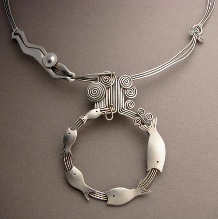 Ahlene Welsh. 'Cycle of Life detail'. Sterling silver and 14k gold
